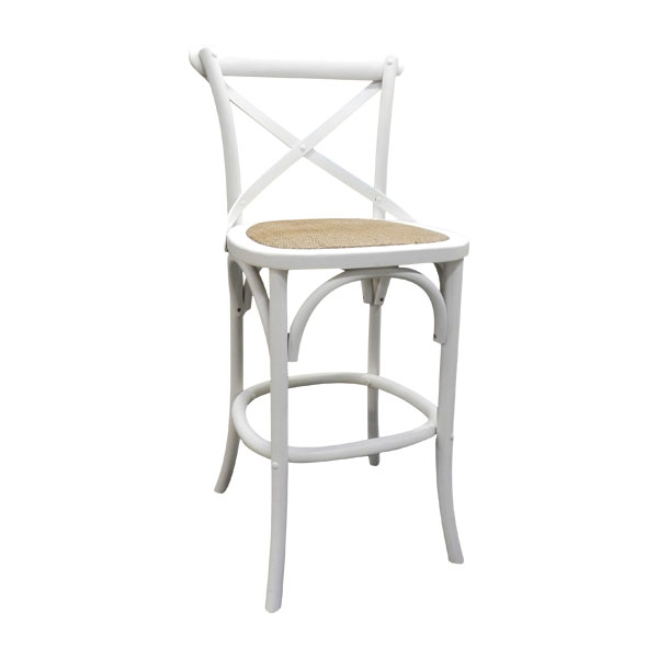 Strap Back Counter Stool White The Importer